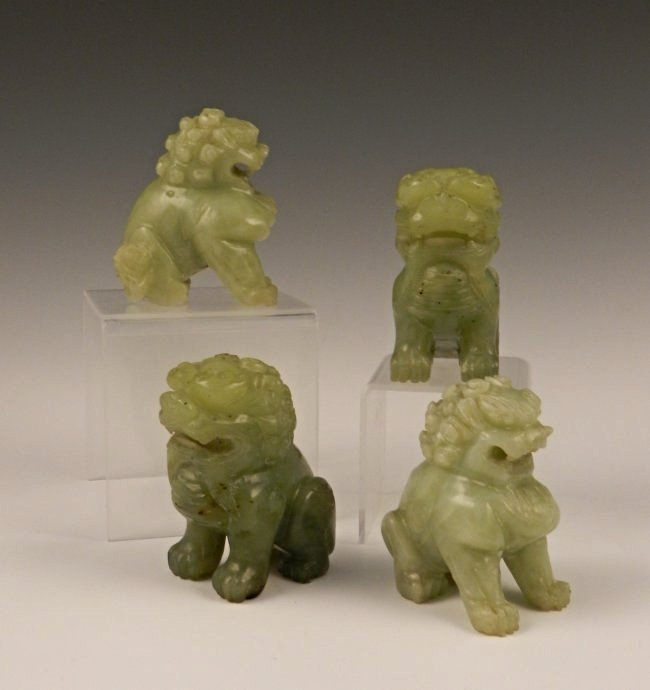 4 Finely Carved Chinese Qing Dynasty Jade Dog Figures Lot 47