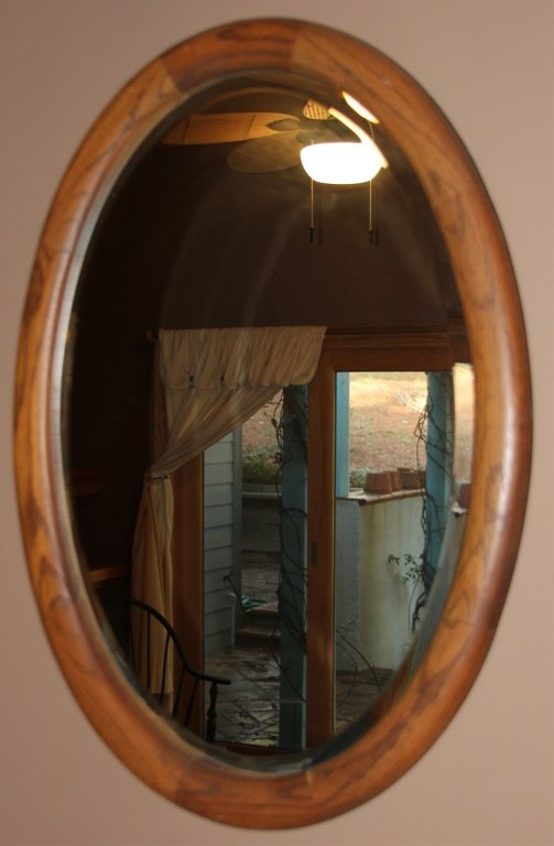 Oval Oak Frame Beveled Wall Mirror Lot 4444
