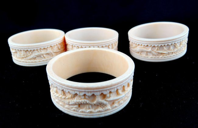 Chinese Carved Ivory Napkin Rings