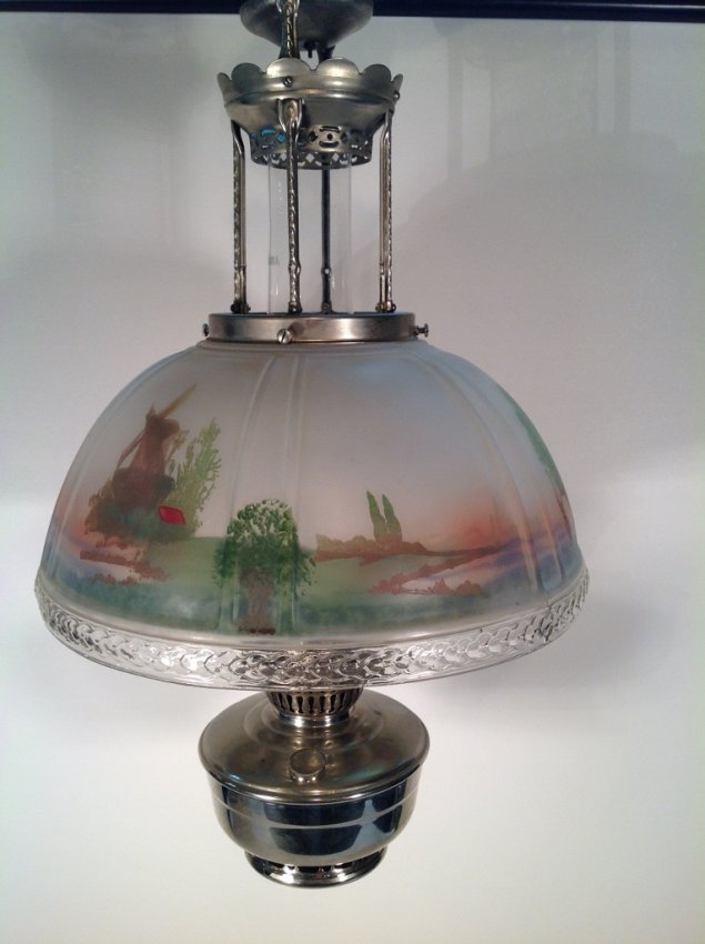 Aladdin Hanging Oil Lamp W Reverse Painted Glass Shade