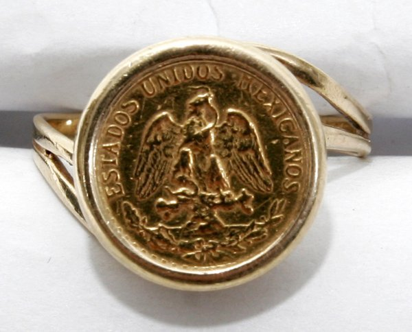 090262 mexican gold pesos coin 14k yellow gold ring lot