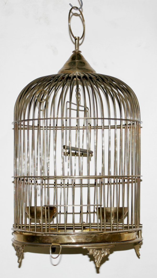 101539: HANGING STYLE BRASS BIRD CAGE, ANTIQUE : Lot 101539