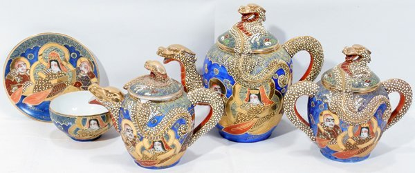 Antique Japanese Tea Sets With Dragon Antique Japanese Tea Sets With