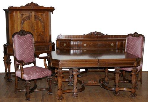 122071 hand carved walnut dining room set c 1920 8