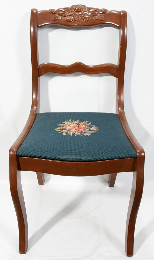 050507 DUNCAN PHYFE STYLE MAHOGANY SIDE CHAIR H 33