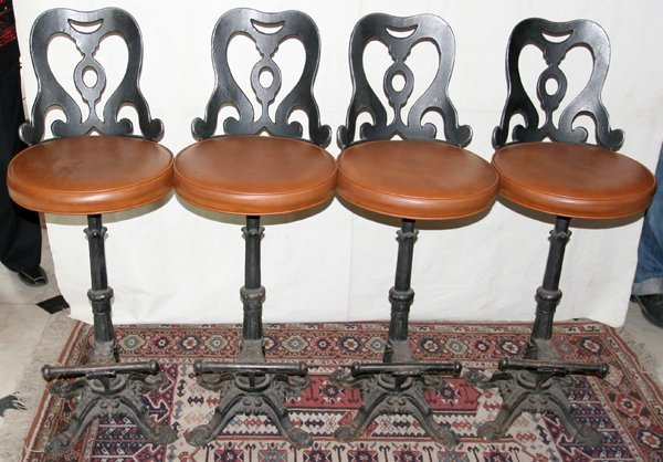 051113 ANTIQUE CAST IRON BASE BAR STOOLS FOUR H 42  : 63865141l from www.liveauctioneers.com size 600 x 418 jpeg 67kB