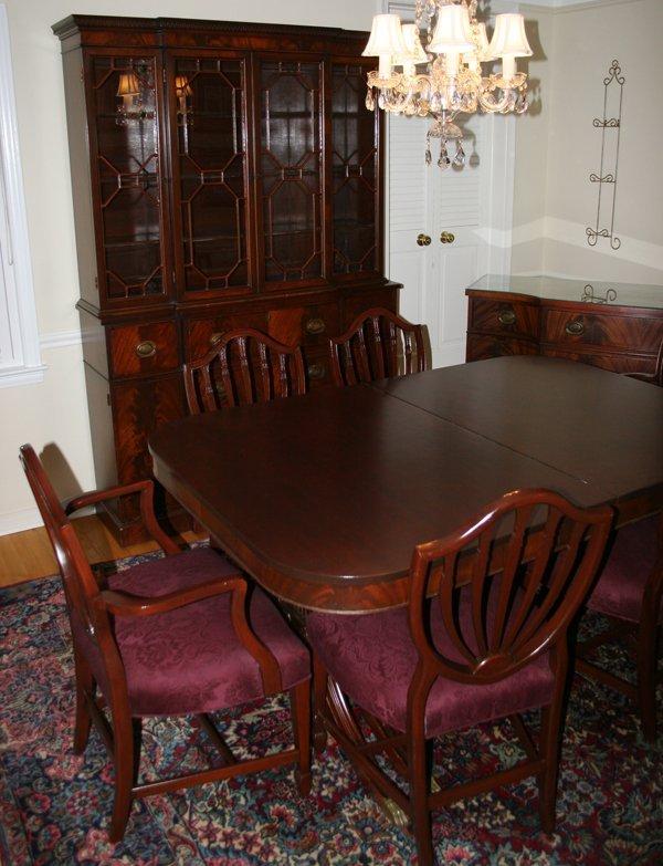 042208 duncan phyfe style mahogany dining room set lot