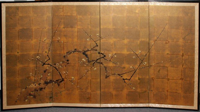 Paper Wall Panels : Japanese painted rice paper four panel screen
