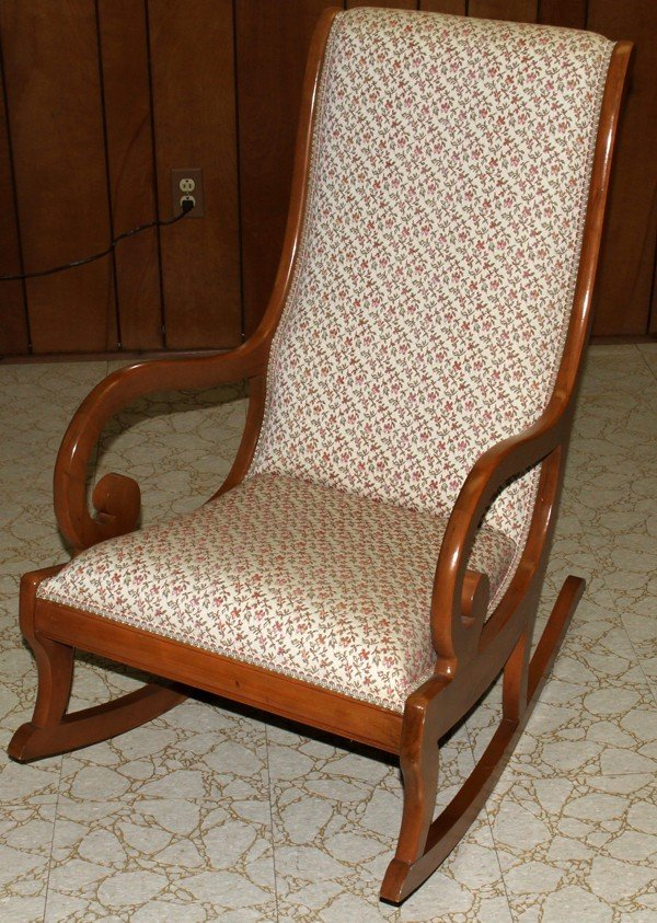 020417: MAPLE & UPHOLSTERED ROCKING CHAIR, H 39 - Upholstered Rocking Chair ~ Home & Interior Design