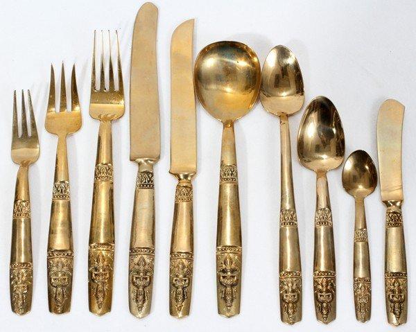 020462 thai brass flatware service for 12 144 pcs lot 20462 - Thailand silverware ...