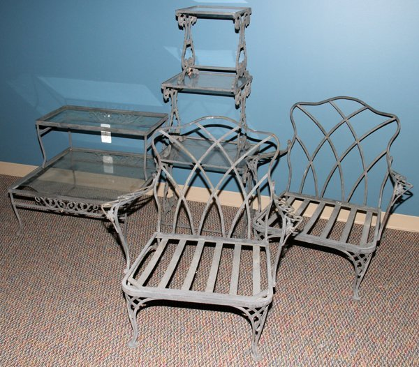 040103 Woodard Cast Iron Sofa End Tables And Chairs Lot 40103