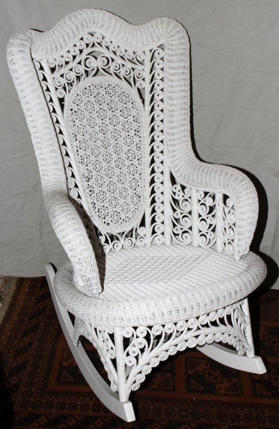 080234: PAINTED WICKER ROCKING CHAIR