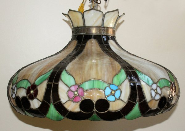 010188 leaded stained and slag glass hanging lamp lot 10188. Black Bedroom Furniture Sets. Home Design Ideas