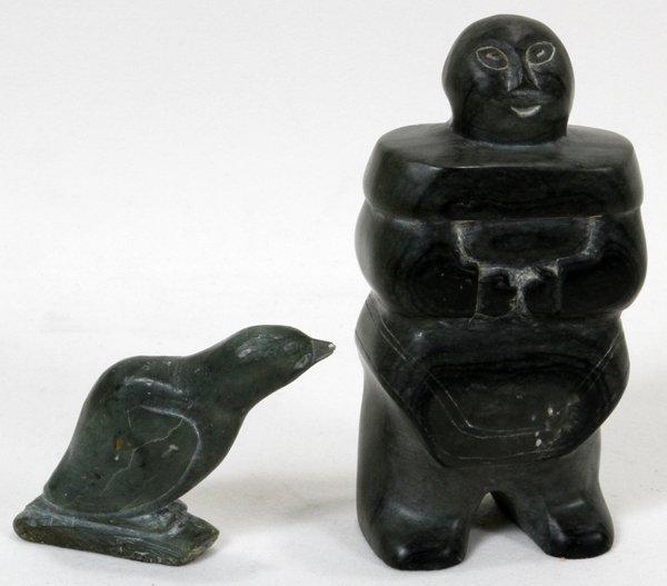 Carved stone inuit eskimo and bird lot