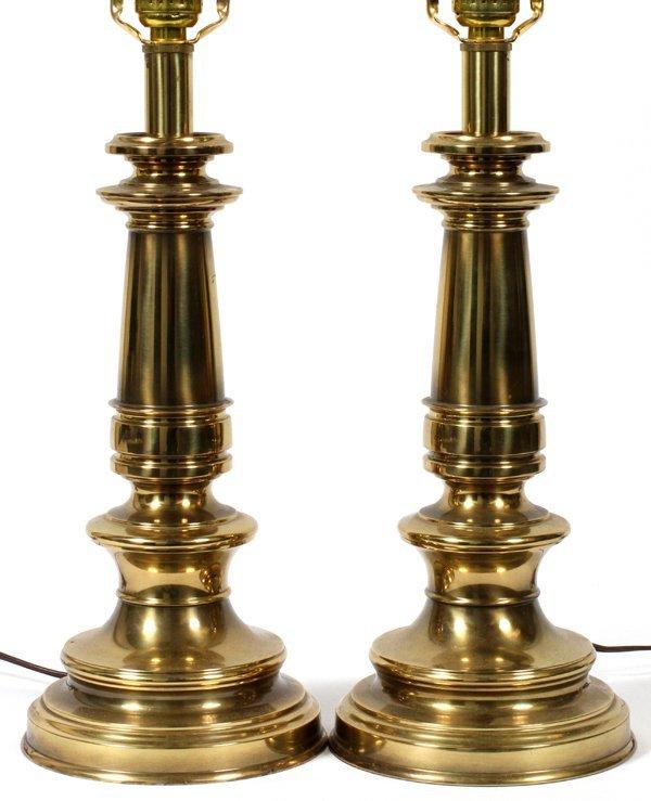 stiffel brass table lamps pair h 24 lot 50123. Black Bedroom Furniture Sets. Home Design Ideas