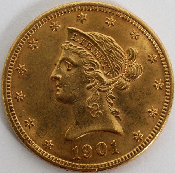 1901 ten dollar gold coin value