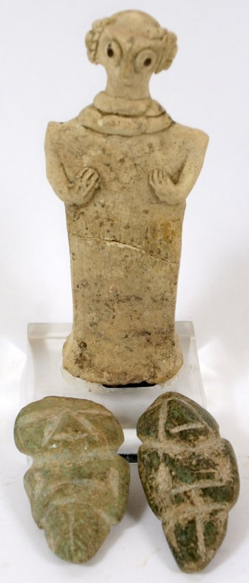 Pre columbian style carved figural stone group lot