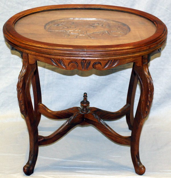 French Oval Coffee Table: FRENCH WALNUT OVAL GLASS TOP COFFEE TABLE : Lot 20425