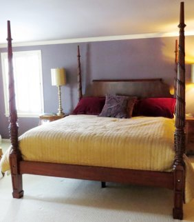 802 mahogany carved four poster rice bed newer ssr lot 802 for Ethan allen king size beds