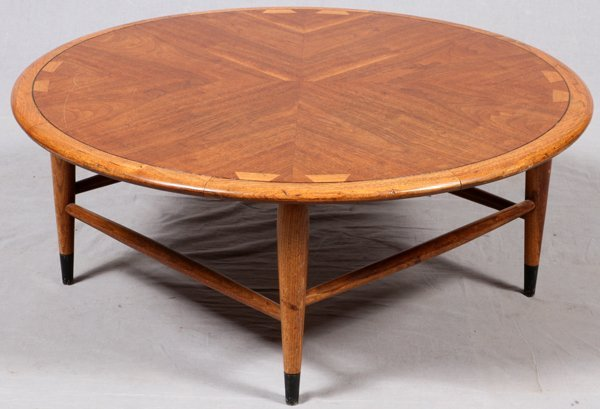 lane mid century inlaid wood round cocktail table lot 22209. Black Bedroom Furniture Sets. Home Design Ideas