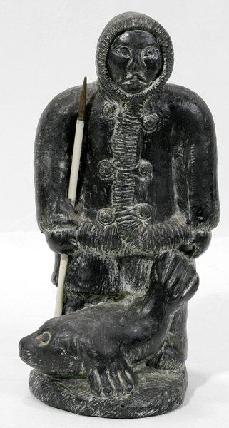 Wolf molded sculpture eskimo seal hunter lot