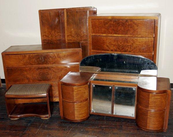 030014 Art Deco Style Burl Wood Veneer Bedroom Set Images Frompo
