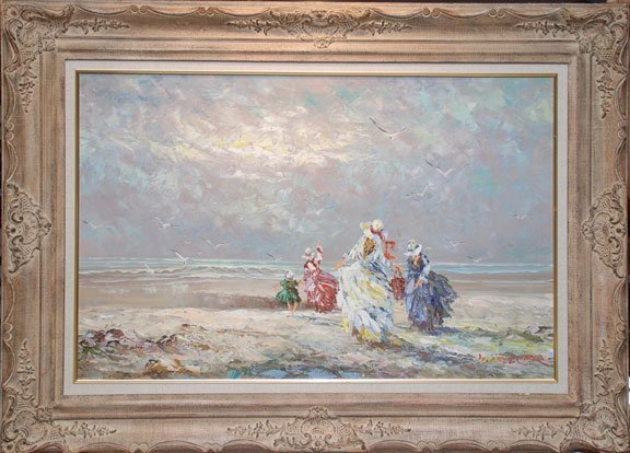 LARGE OIL PAINTING ON CANVAS MARIE CHARLOT