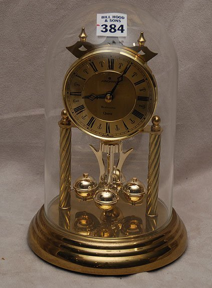 1384  Junghans  Westminster quartz  domed clock  9 quot h xQuartz Clocks