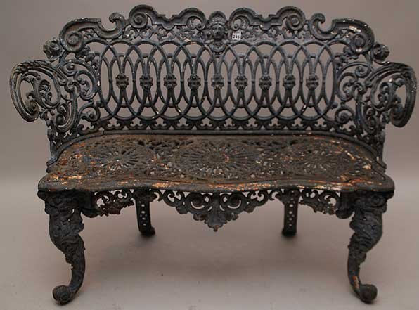 245 Antique French Cast Iron Garden Bench Lot 245