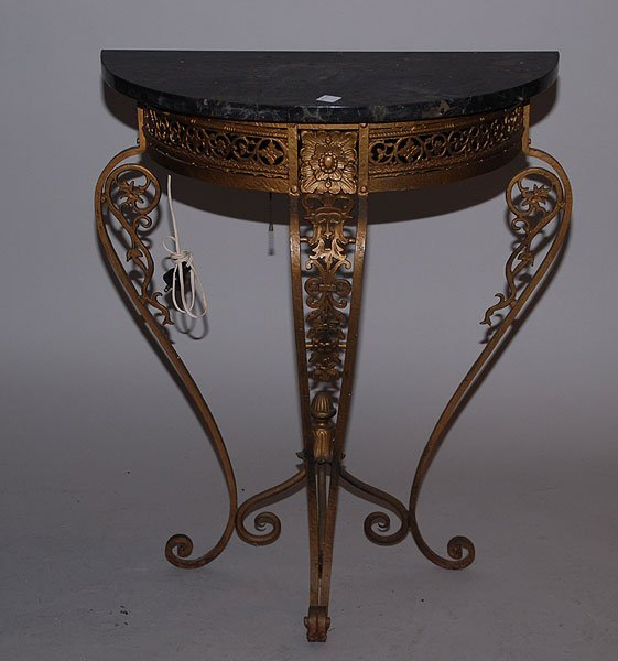 355 old wrought iron half moon shaped small table w m lot 355. Black Bedroom Furniture Sets. Home Design Ideas