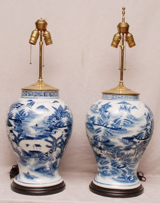 Pair Of Chinese Blue White Lamps In Ginger Jar Form