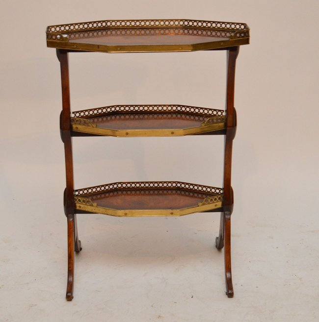3 tier mahogany narrow side table with brass gallery lot 71 for Long narrow side table