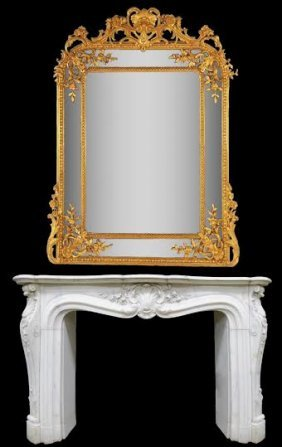 Large 19th Century Gilt Wood Louis Xv Style Mirror