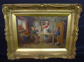 19th Century Artist Signed Oil On Canvas In Gilt Wood