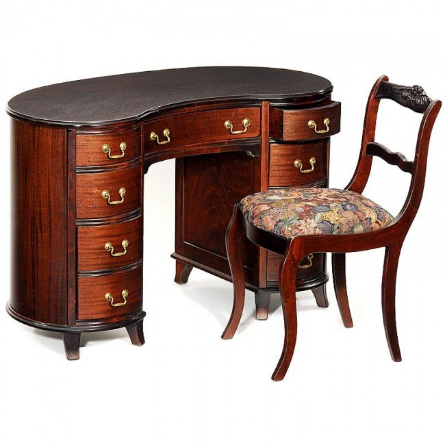 91 american federal style mahogany kidney shaped desk lot 91 - Kidney shaped office desk ...