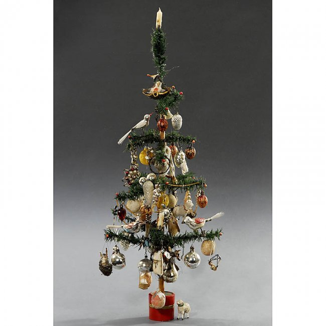 Christmas Tree Auction: 544: German Feather Christmas Tree, C. 1920 : Lot 544