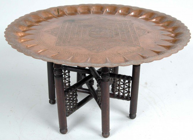 182 TURKISH COPPER COFFEE TABLE LATE 19TH C Lot 182