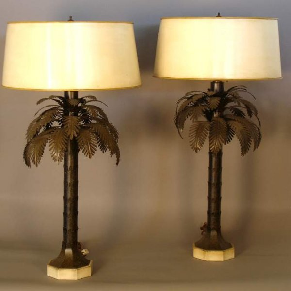 159 pair of tole palm tree table lamps black and gold. Black Bedroom Furniture Sets. Home Design Ideas