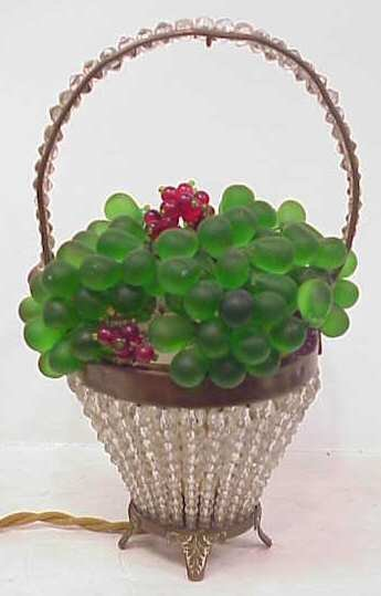 Antique crystal and glass beaded fruit basket light