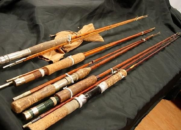 Lot 5 antique fishing rods congress horrocks heddon lot for Vintage fishing poles
