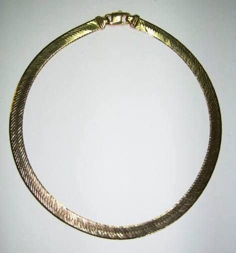 "16 Inch Gold Herringbone Necklace: 14KT GOLD HERRINGBONE CHAIN NECKLACE 16"" 30 GRAMS : Lot 3180"
