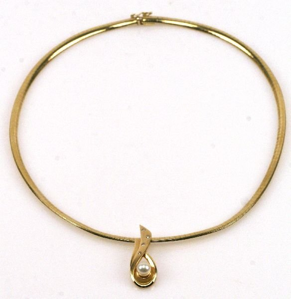 14k gold omega necklace w pearl pendant lot 10217
