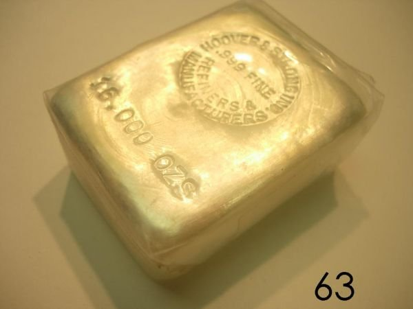5063 Silver Bar 16 Oz Or 1 Lb Hoover Strong Assayer
