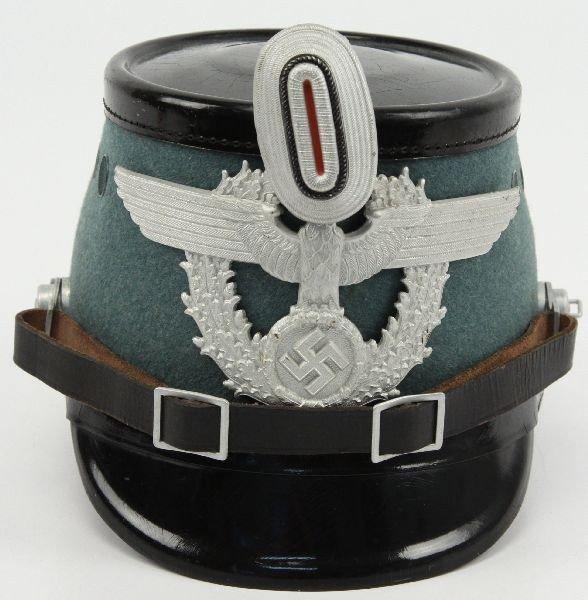 WWII GERMAN POLICE SHAKO HELMET W/ INSIGNIA : Lot 3118