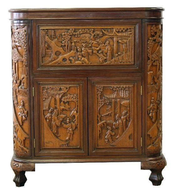 Detailed relief carved chinese mahogany bar lot