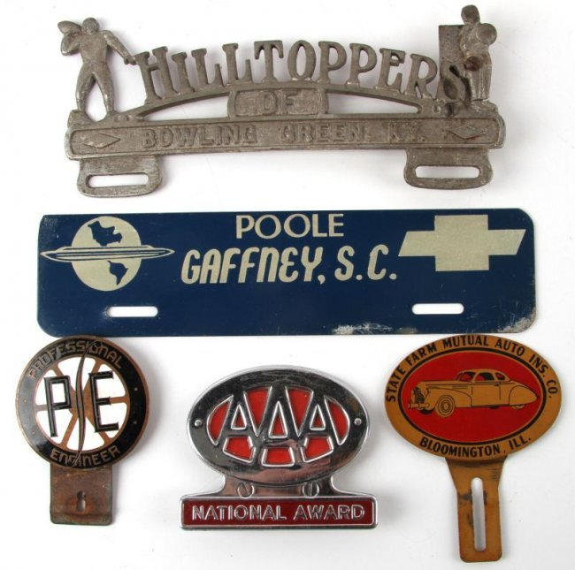 VINTAGE CAR EMBLEMS AAA STAE FARM PE AND DEALERS : Lot 7253