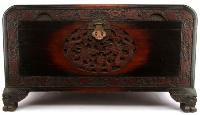 Chinese high relief carved cedar lined trunk lot