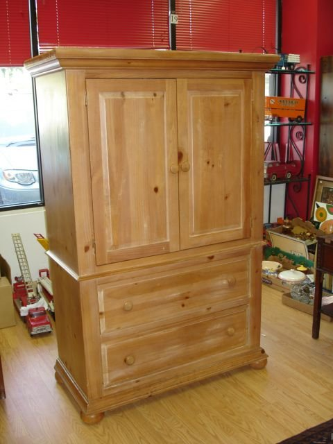 300 broyhill furniture fontana solid pine armoire lot 300