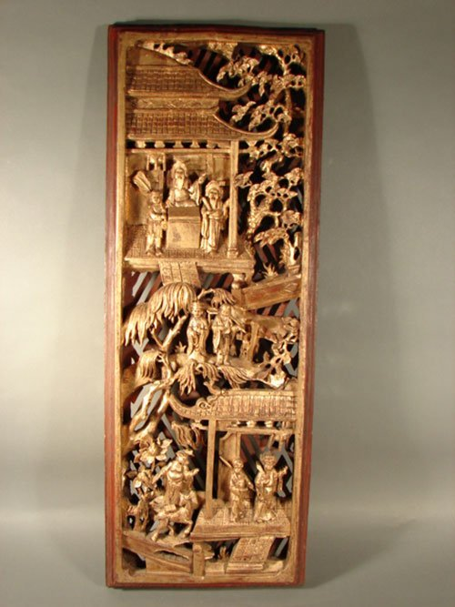 Chinese carved gilded wood wall plaque panel