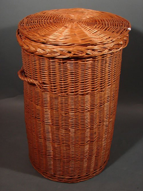 3263 antique wicker woven trash can size basket with c lot 3263 - Wicker trash basket ...